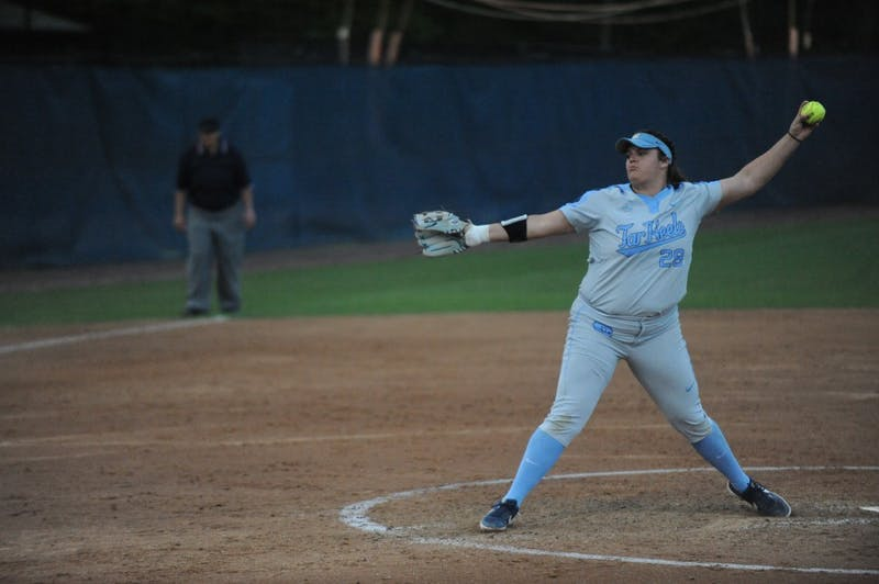 Junior Brittany Pickett, number 28, pitches the ball at the UNC  softball match against Liberty University on Wednesday, April 10, 2019 at the Anderson Softball Stadium. UNC won 3-2.
