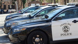 Chapel Hill Police vehicles standby at the Chapel Hill Police Department on Tuesday, Jan. 28, 2020. The Chapel Hill Police Department has increased their patrols in and around UNC's campus in response to the sexual assault in the Shortbread Lofts parking deck on Sept. 13, 2019.