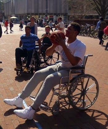 UNC men's basketball forward Kennedy Meeks played basketball in the wheelchair basketball event last year. Photo Courtesy of Lily Stine.