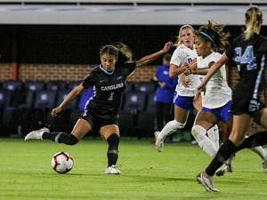 UNC freshman forward Sam Meza (1) takes a shot on Dorrance Field Oct. 23, 2020. The Tar Heels beat the Blue Devils 1-0.