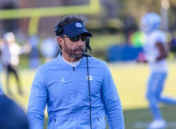 Head coach Larry Fedora looks on during UNC's 42-35 loss to Duke at Wallace Wade Stadium on Nov. 10, 2018.