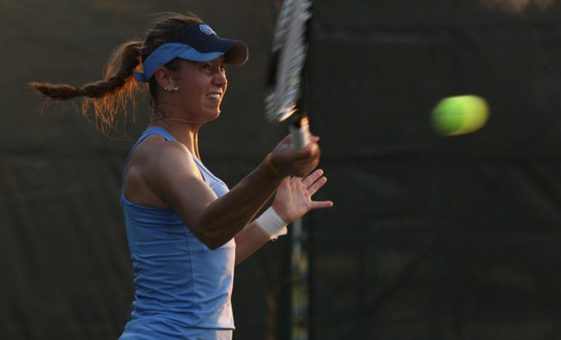 North Carolina first singles player Zoe De Bruycker helped the Tar Heels to their first ACC tournament title since 2002 by winning her match against Florida State's Katie Rybakova  6-2, 6-1.