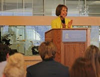 Chancellor Carol Folt delivers her State of the University address to the UNC Student Congress Tuesday evening in the Aquarium Lounge of the Student Union. She began her speech by addressing House Bill 2 and how she plans to respond on campus.
