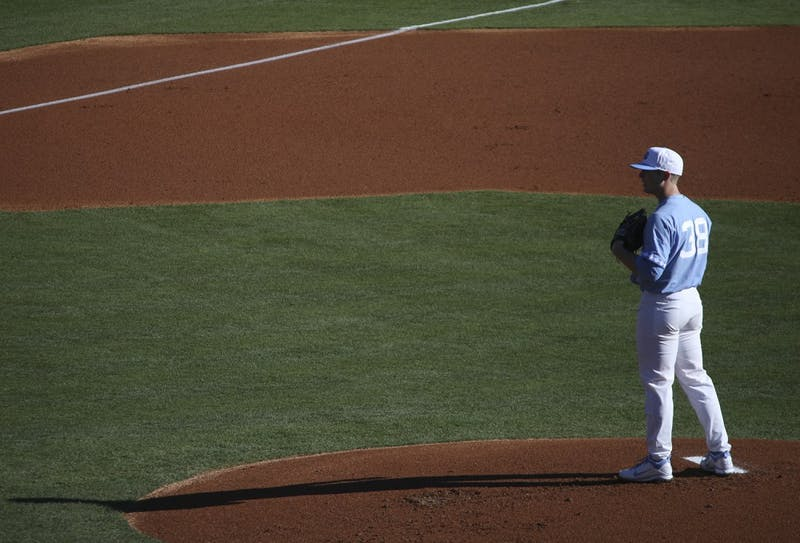 North Carolina pitcher J.B. Bukaukas(38) prepares to throw out the seasonopening pitch against Kentucky on February 17.