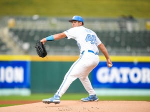 UNC sophomore right handed pitcher Connor Ollio pitches the ball at the ACC tournament against Pittsburgh on Tuesday May 25, 2021 in Charlotte, NC. UNC lost 5-3. Photo courtesy of Maggie Boulton and Laura Wolff.