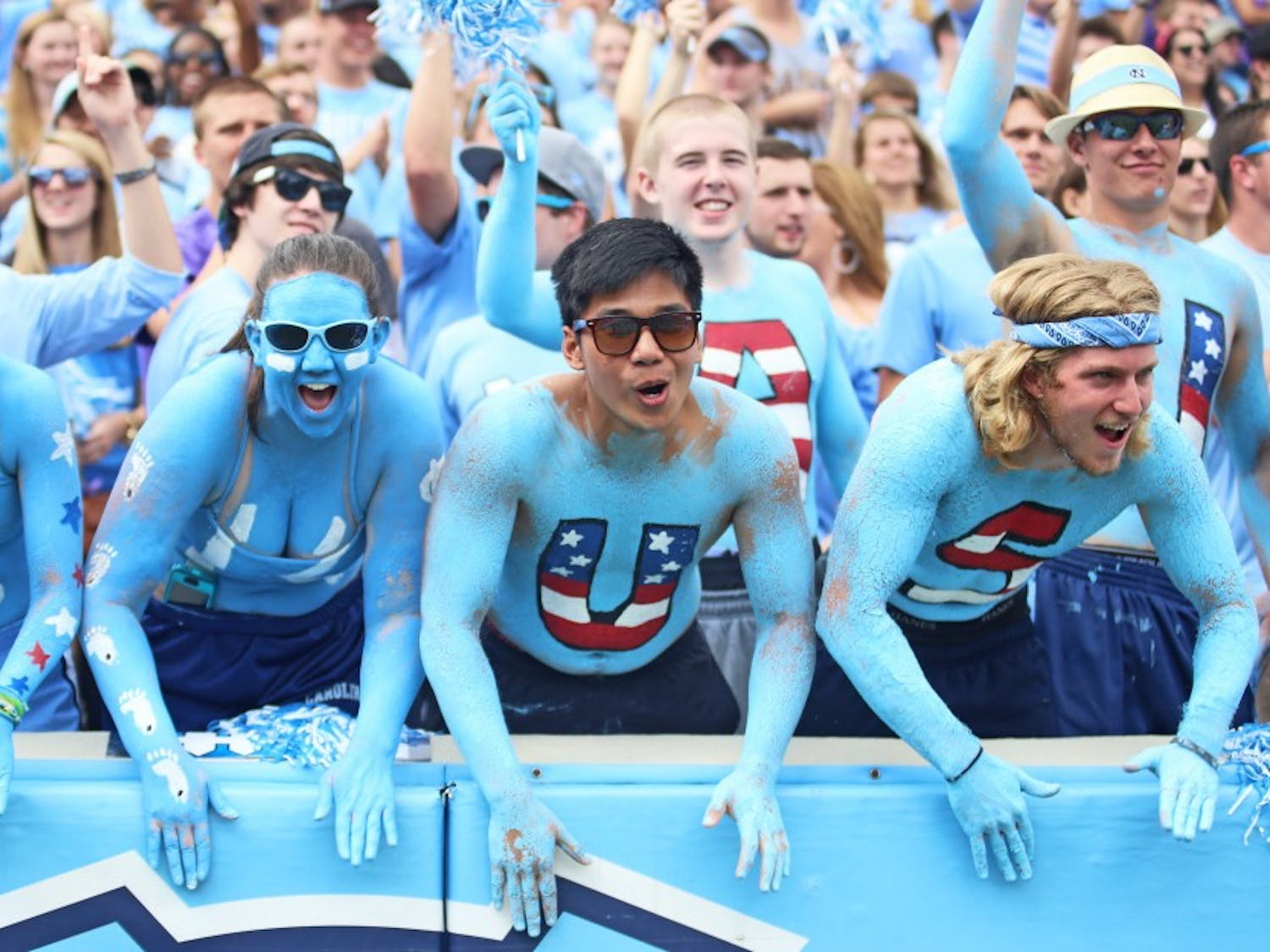 UNC students show their Carolina spirit at the game.