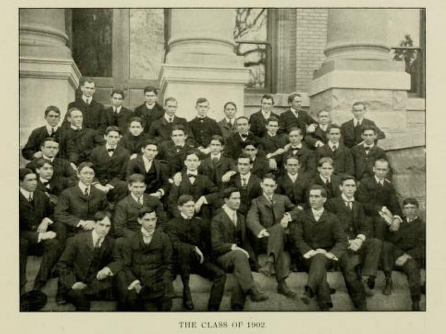 The Yackety Yack included photos to show the class of 1902. Women could enroll starting in 1897, but there are no women shown in this class photo.