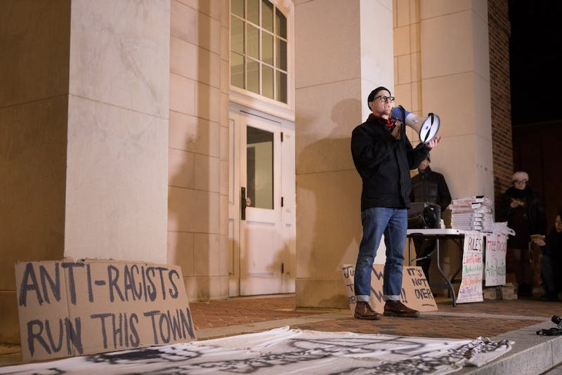 Workers removed Silent Sam's pedestal and plaques the Monday night after Chancellor Carol Folt authorized the removal and announced her resignation. Demonstrators gathered at the Peace and Justice Plaza to celebrate at a victory rally Tuesday night.