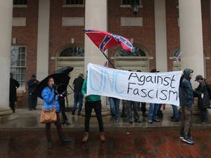 Pro-Confederate demonstrators amassed in front of Graham Memorial Hall, followed by anti-Confederate demonstrators on Saturday morning.