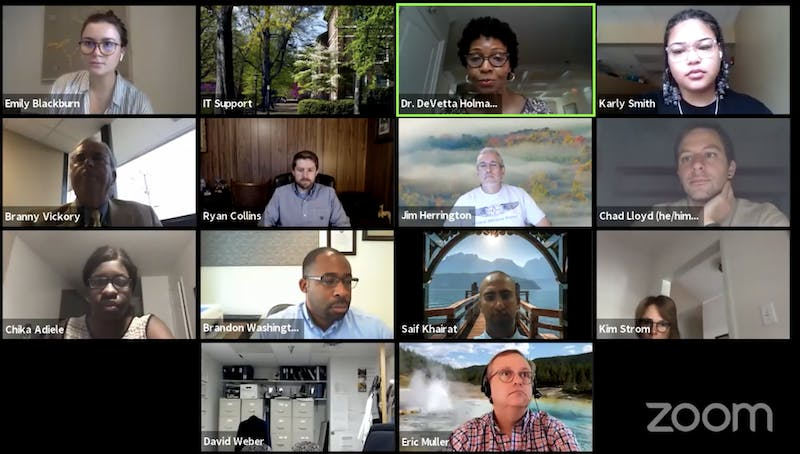 The Campus Safety Commission Co-Chair Dr. DeVetta Holman-Copeland speaks at the commission's virtual meeting on Wednesday, Sept. 2, 2020. This month's meeting addressed how COVID-19 impacts different student demographics, particularly minorities, those still on campus and graduate students.