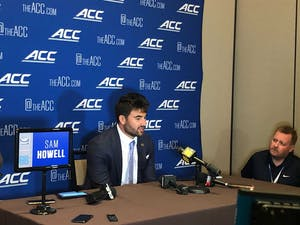 UNC junior quarterback Sam Howell speaks at the ACC Football Kickoff in Charlotte, NC on Wednesday July 21, 2021.