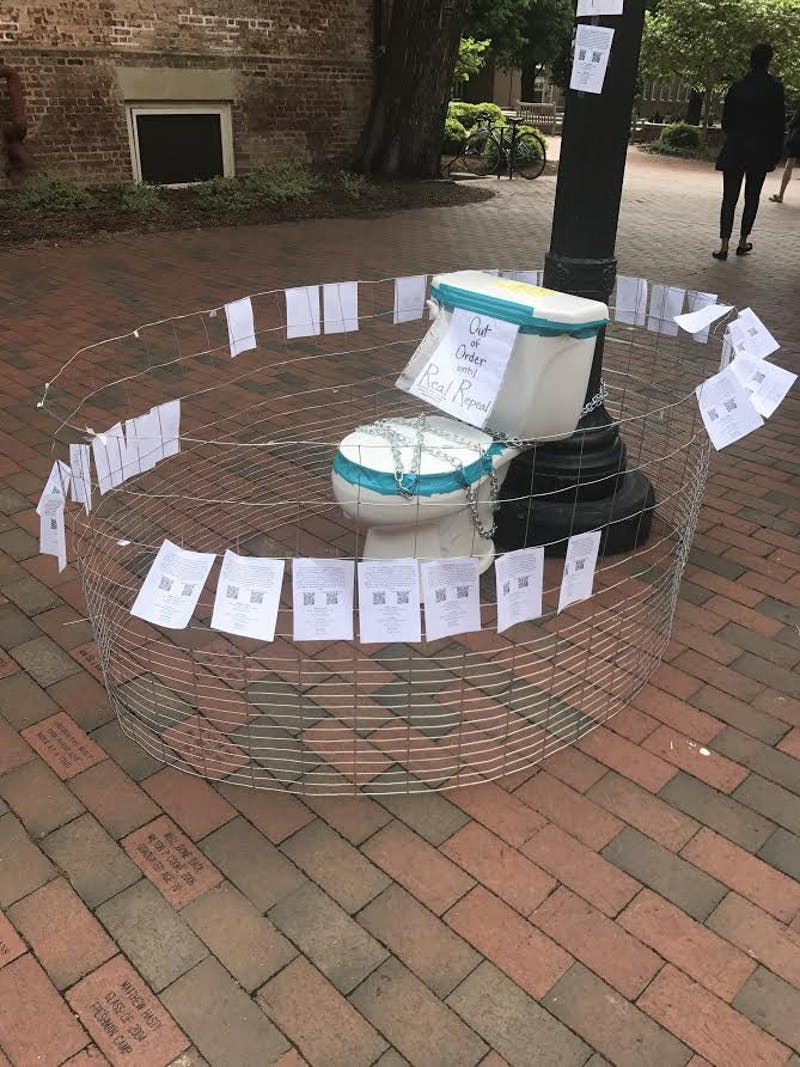"Senior Grace Thorpe's art piece ""HBToilet"" has disappeared from its place in front of the Campus Y."