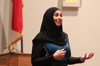Suehaila Amen speaks in the Student Union auditorium Thursday night.