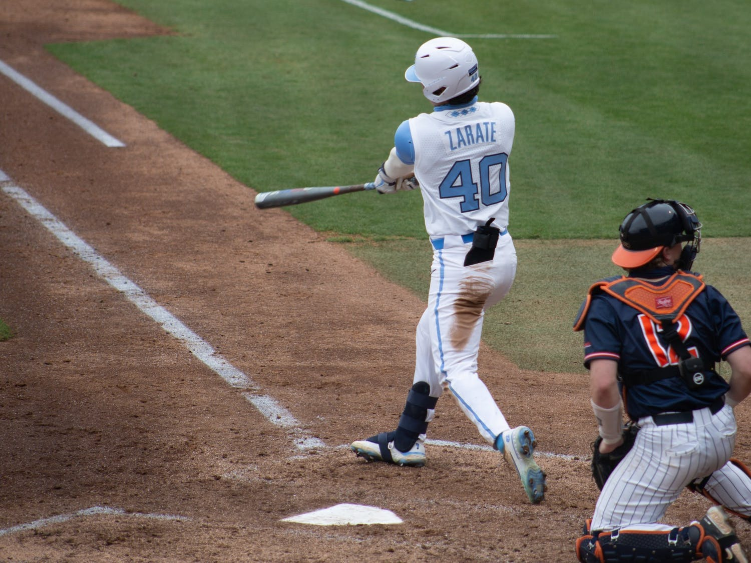 Redshirt sophomore outfielder Angel Zarate (40) goes up to bat in a game against University of Virginia on Saturday, Feb. 27, 2021 at Boshamer Stadium. The Tar Heels beat the Cavaliers 2-1.
