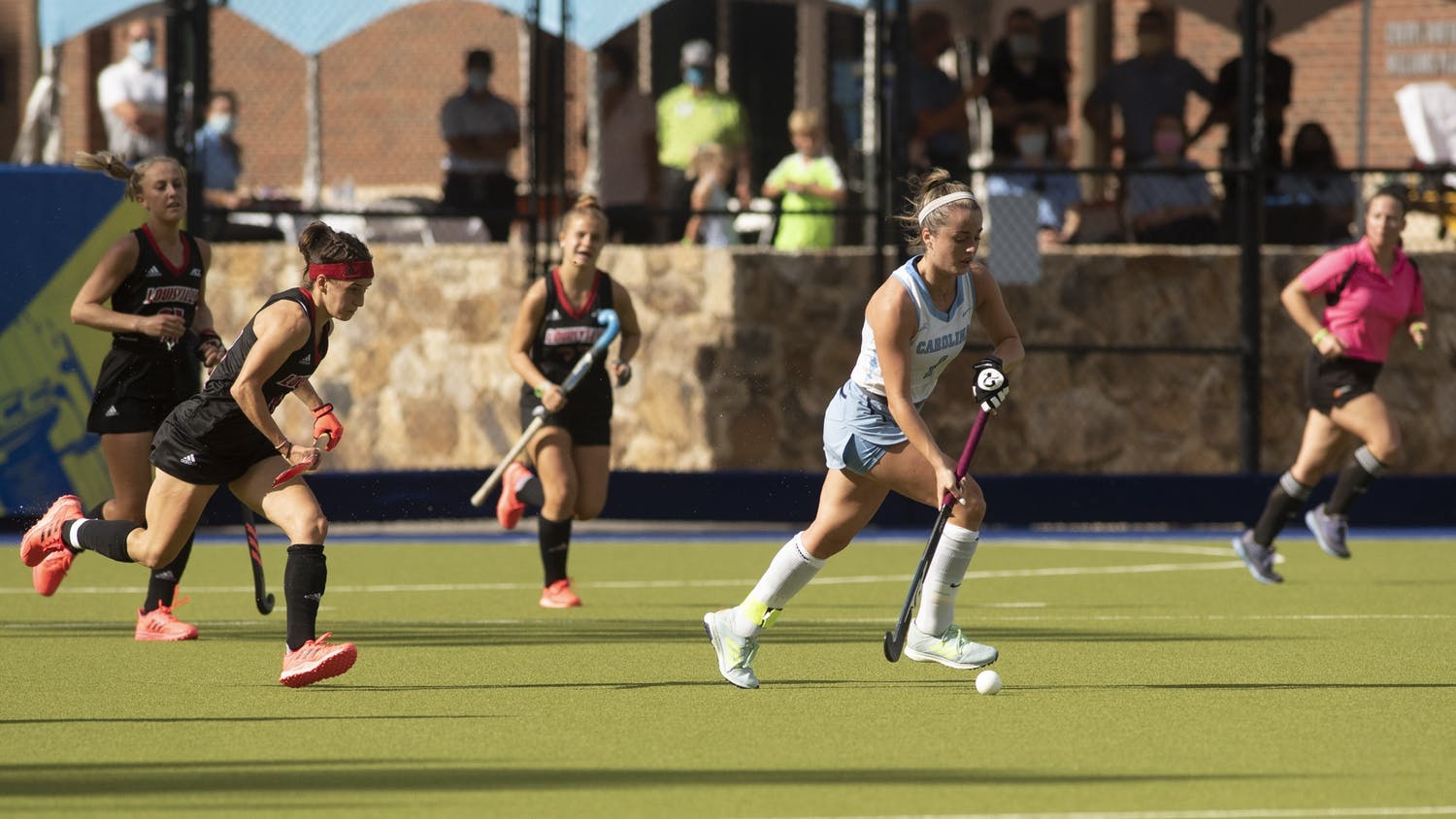 Junior forward Erin Matson (1) drives the ball up the field during the ACC Field Hockey Championship game against Louisville in Karen Shelton Stadium on Nov. 8, 2020. Matson scored two of Carolina's four goals. Carolina defeated the Cardinals 4-2, securing their fourth consecutive tournament title.
