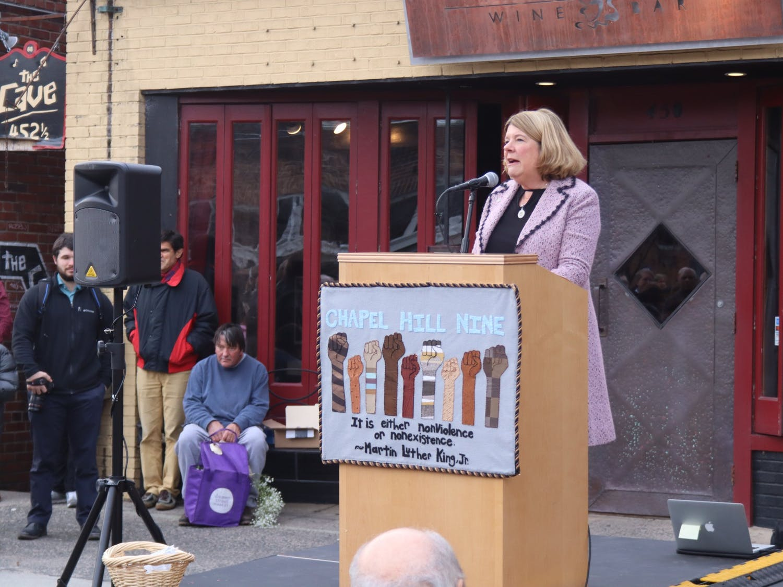 Chapel Hill Mayor Pam Hemminger spoke at the dedication of the Chapel Hill Nine marker on Friday, Feb. 28, 2020.