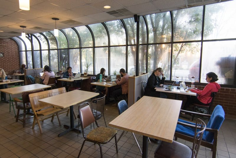 People studied Wednesday afternoon at Bread and Butter Bakery on Rosemary Street.