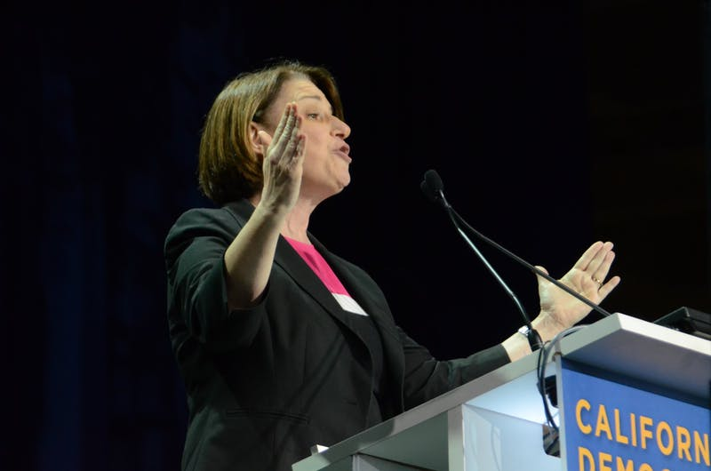Sen. Amy Klobuchar (D-Minn.) speaks at the California Democrats' State Convention at the Moscone Center in San Francisco. Taking place from May 31 to June 2, the convention featured 14 presidential candidate speakers and hosted an audience of more than 3,000. Photo courtesy of Anna Vazhaeparambil.