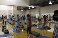 Students, faculty and employees participate in exercise classes in the Student Recreation Center on Jan. 24, 2017.