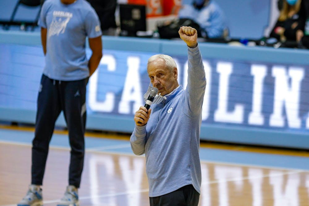 UNC head coach Roy Williams gives a speech on senior night in the Dean Dome on March 6, 2021. The Tar Heels beat the Blue Devils 91-73.
