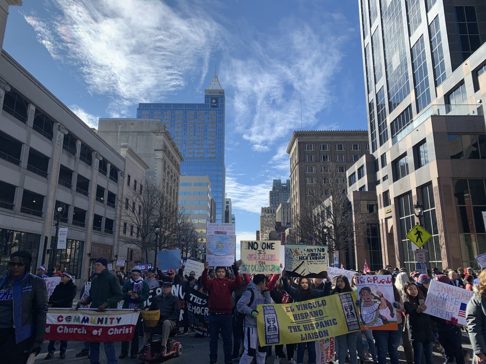 """<p>Thousands gathered and marched to the &nbsp;State Capitol Building at the NAACP-sponsored """"Historic Thousands on Jones Street"""" march in downtown Raleigh on Saturday, Feb. 8, 2020.&nbsp;</p>"""