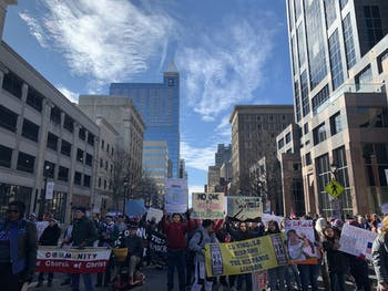 """Thousands gathered and marched to the State Capitol Building at the NAACP-sponsored """"Historic Thousands on Jones Street"""" march in downtown Raleigh on Saturday, Feb. 8, 2020."""