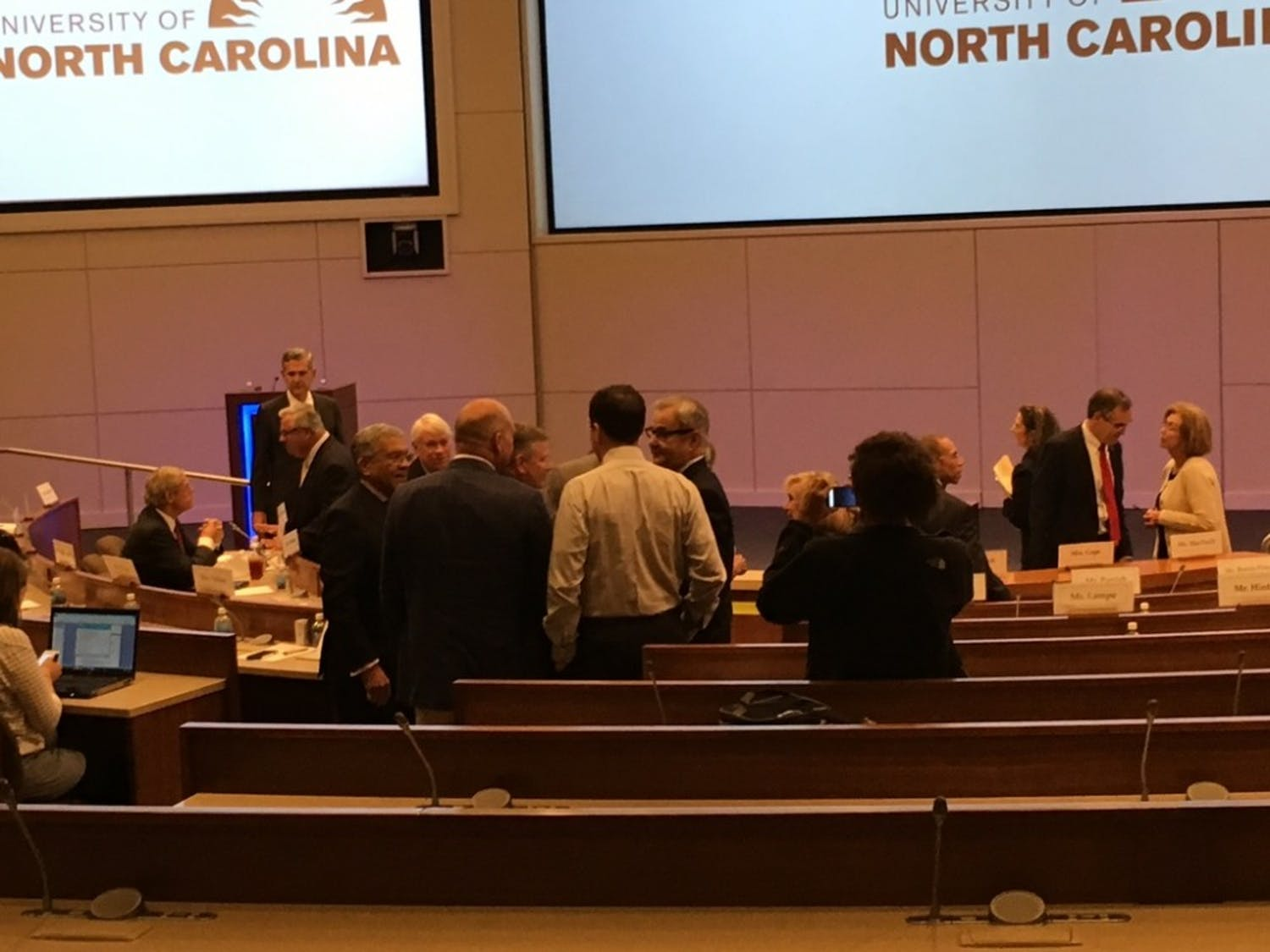 "Members of the Board of Governors met in Cary Friday for an ""emergency meeting"" to discuss the next UNC-system president."