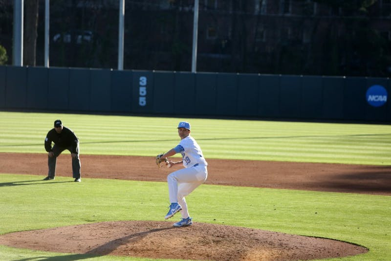 Senior Brett Daniels (19) pitches against High Point on Feb. 27 at Boshamer Stadium.