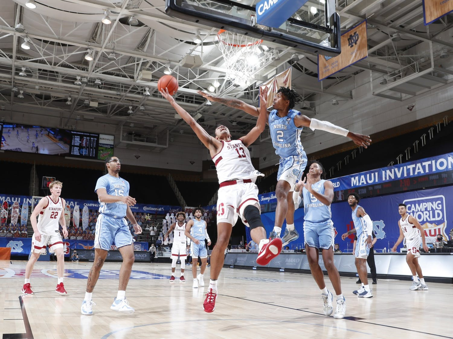 UNC first year guard Caleb Love (2) attempts to block a basket during a game against Stanford during the Maui Invitational Tournament in Asheville, N.C. on Tuesday, Dec. 1, 2020. UNC beat Stanford 67-63. Photo courtesy of Brian Spurlock/Camping World Maui Invitational.