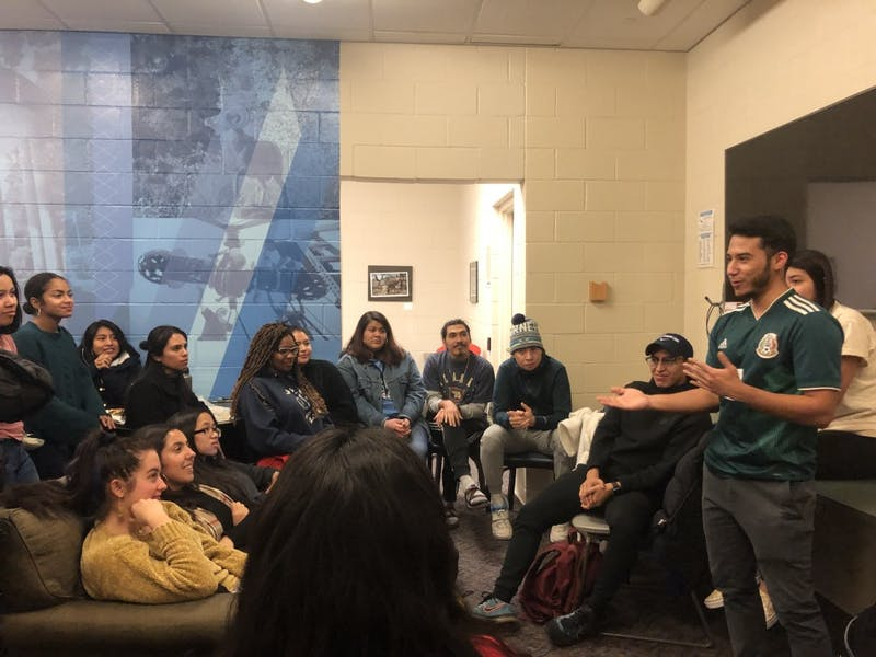 Mi Pueblo and other Latinx organizations gathered to celebrate BOT's approval of a Latinx Center on Thursday, Jan. 31, 2019. The Latinx Center will be located in Abernathy Hall. Photo courtesy of Elizabeth Ordonez.