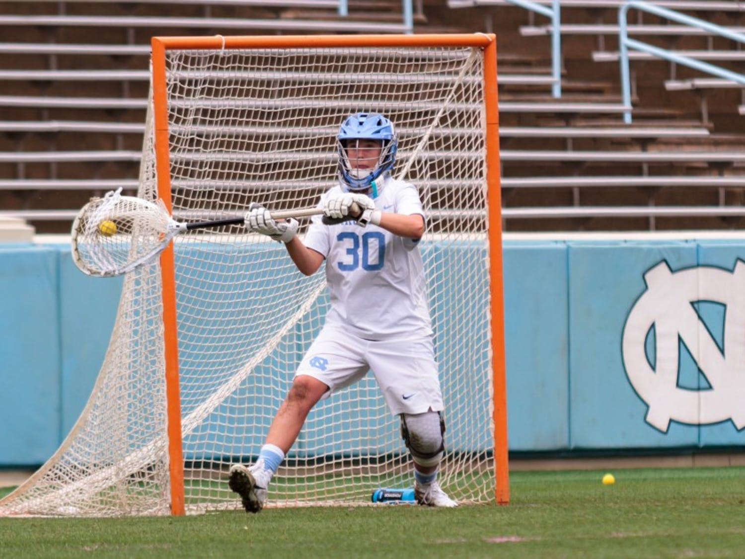 Taylor Moreno (30) guards the goal during a 2018 NCAA quarterfinal win against Northwestern.