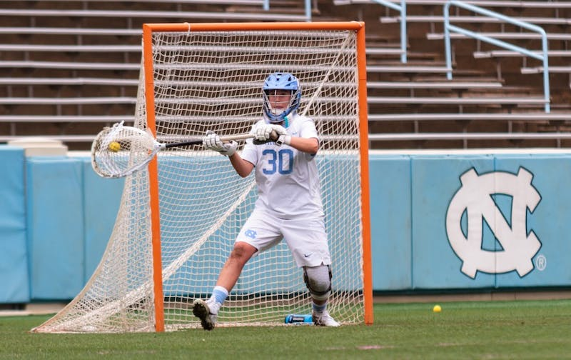 North Carolina redshirt freshman Taylor Moreno (30) guards the goal during Saturday's NCAA quarterfinal win against Northwestern.
