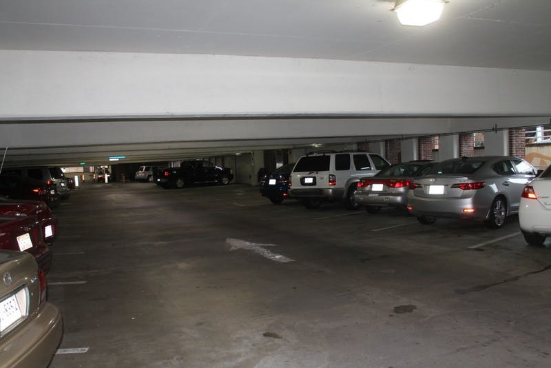 Cars parked in the Wallace Parking Deck on E. Rosemary St.