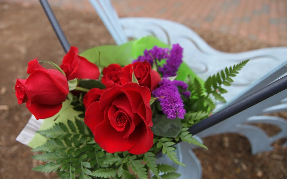 An anonymous donor/community member left a bouquet of roses on the Eve Carson Memorial Butterfly Bench (Note: UNC cites this a few different ways on the website, so check with management on the CQ) last December. [I'm pretty sure it's legit to say that] The bouquet was left during the trial of Laurence Alvin Lovette Jr. in December. 