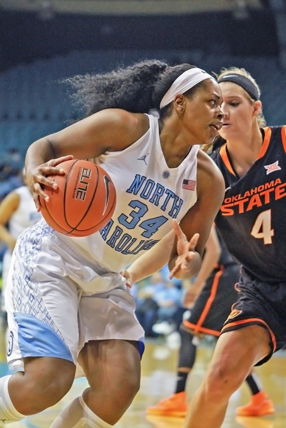 <p>Junior forward Xylina McDaniel (34) could be out for the remainder of the season after injuring her lower right leg on Dec. 21 against Elon.</p>