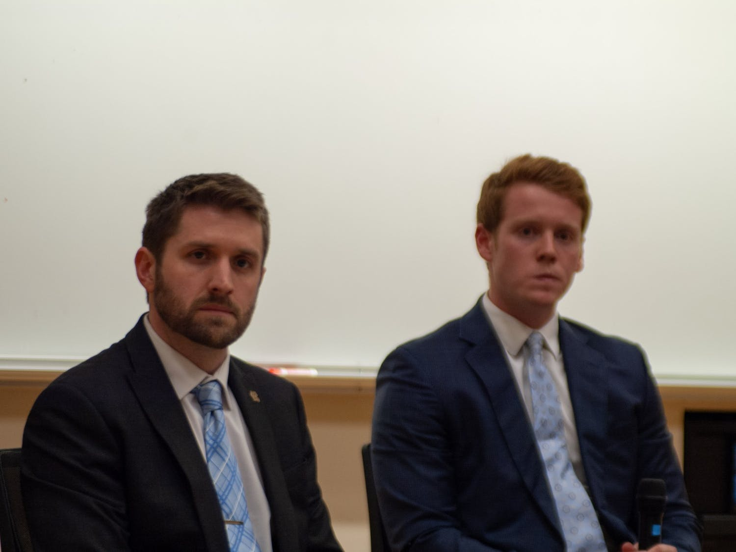 (From left) Student Body President candidates Ryan Collins and Reeves Moseley debated each other on Monday, Feb. 10, 2020. The candidates debated civic engagement, graduate student needs, diversity and police conduct, among other topics.