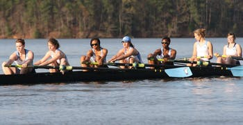 The Novice 8+ warms up before their race at Lake Wheeler on Saturday.