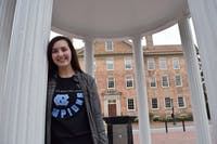 "Addie Wise, a first-year advertising and public relations major, toured UNC before deciding to go here; the tour influenced the path of her college future. ""The campus was so pretty and it felt like home."", Addie Wise says on Sunday, Feb. 3, 2019."