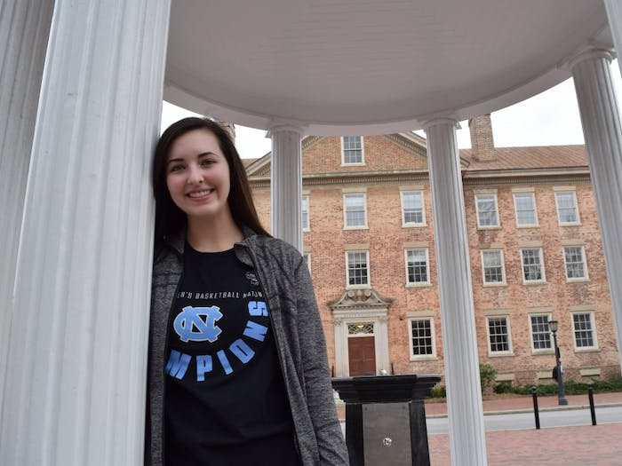 """Addie Wise, a first-year advertising and public relations major, toured UNC before deciding to go here; the tour influenced the path of her college future. """"The campus was so pretty and it felt like home."""", Addie Wise says on Sunday, Feb. 3, 2019."""