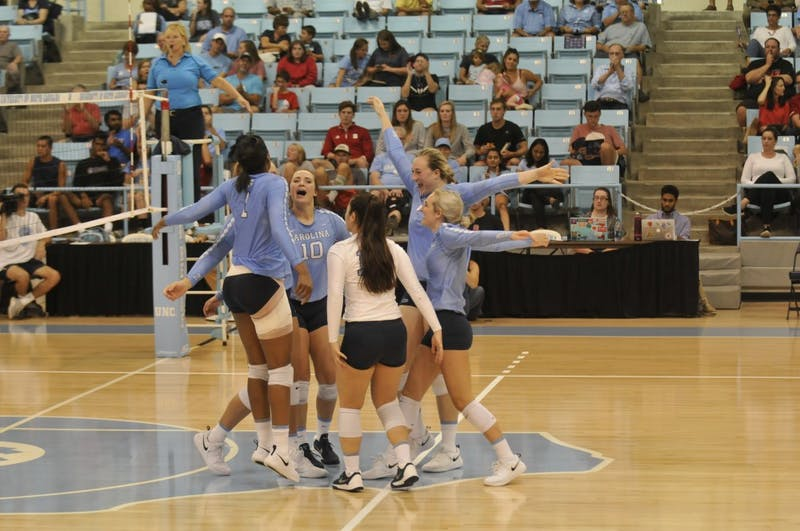 The UNC volleyball team celebrates scoring a point against NC State on Wednesday, Sept. 26 in Carmichael Arena.