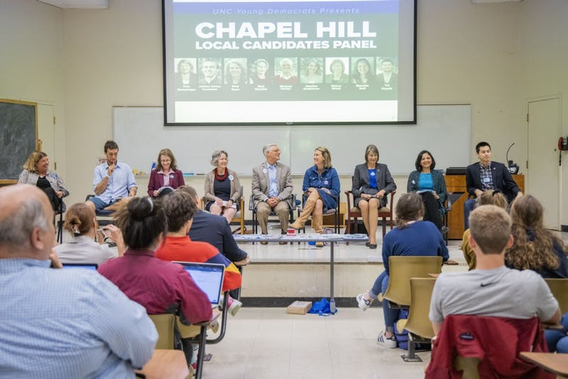 The UNC Young Democrats hosted the Chapel Hill Local Candidates Panel in Manning Hall on Tuesday, Oct. 8, 2019.