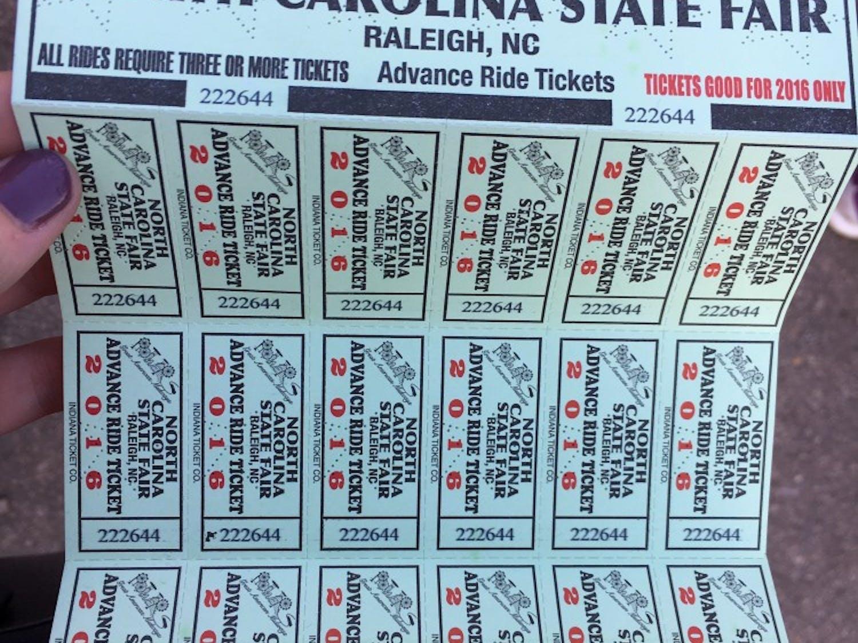 An advanced ride ticket book for the NC State Fair.