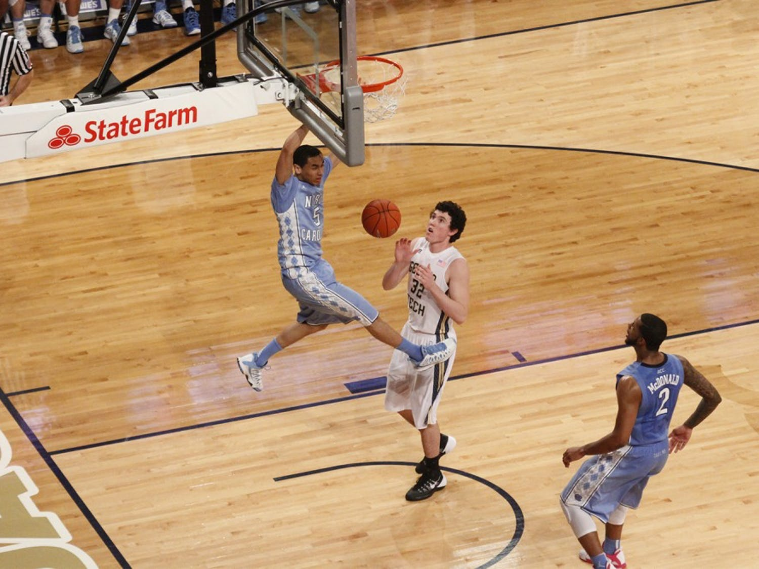 UNC guard Marcus Paige dunks in a game against Georgia Tech. The Tar Heels beat Georgia Tech away 78-65 on Jan. 29, 2014.