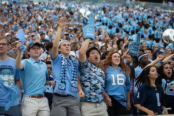 UNC fans cheer on the football team at the homecoming game against Duke on Saturday, Oct. 26, 2019 at Kenan Memorial Stadium. UNC defeated Duke 20-17 for the first time in three years.