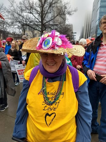 Ruth Gibson, poses for a photo at the Women's March on Raleigh on Sunday, Jan. 26, 2020. She has been involved with the Raging Grannies, a group of activists who are women above the age of 65, for over a decade. Photo courtesy of Ruth Gibson.