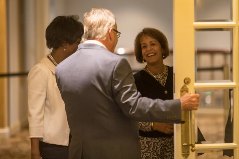 UNC Chancellor Carol Folt walks into the meeting room for the NCAA allegation hearings at the Gaylord Opryland Resort & Conference Center in Nashville, Tenn., on Wednesday morning.
