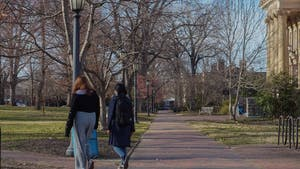 UNC students walk on an empty campus on March 5, 2021. Students recount their initial reactions to the country shutting down due to the COVID-19 outbreak in 2020.