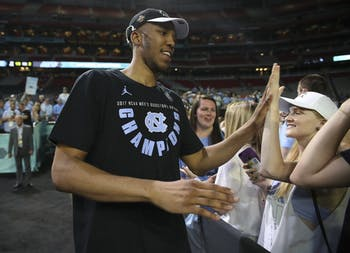North Carolina forward Tony Bradley greets fans after the men's basketball team's victory in the national championship.