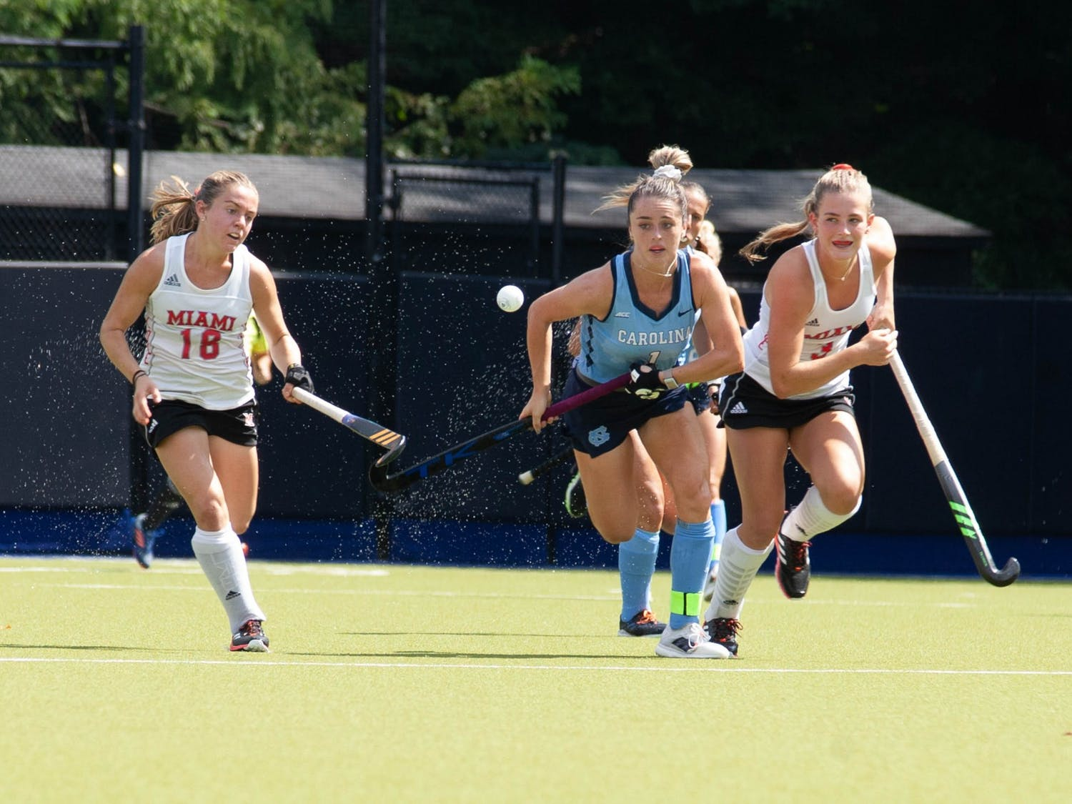 UNC senior forward Erin Matson (1) gains possession of the ball during the field hockey game against the Miami RedHawks at Karen Shelton Stadium on September 19, 2021. The Tar Heels defeated the RedHawks 7-2.