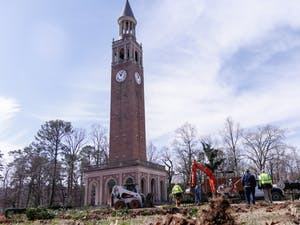 The grounds surrounding the Bell Tower now stands barren on day two of the landscape renovation project, Wednesday, Feb. 13, 2019.